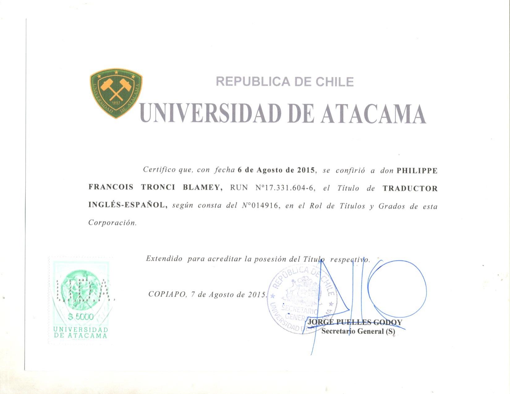 Philippe francois tronci english spanish spanish english spanishcertification degree of english to spanish translator xflitez Images